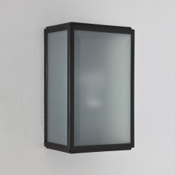 Astro Homefield Black Outdoor Wall Light with Frosted Glass