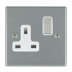 Hamilton Hartland Satin Steel 1 Gang 13A Switched Socket - Double Pole with White Insert