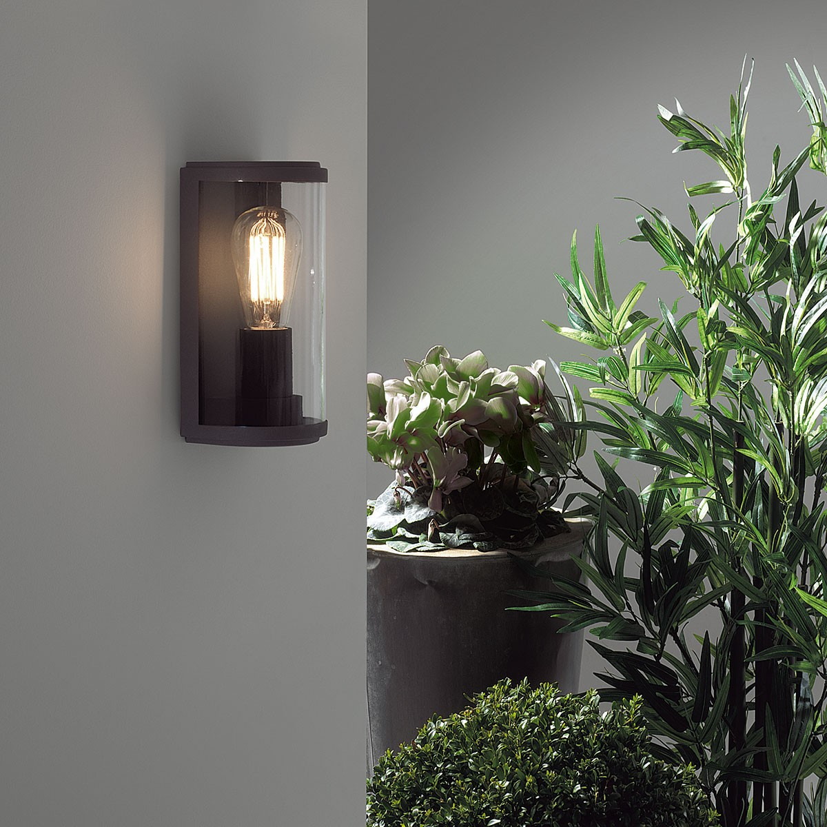 Luxury Outside Wall Lights : Astro Paros Black Outdoor Wall Light at UK Electrical Supplies.