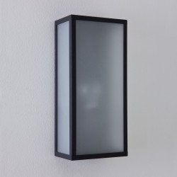 Astro Messina Textured Black Outdoor Wall Light with Frosted Glass