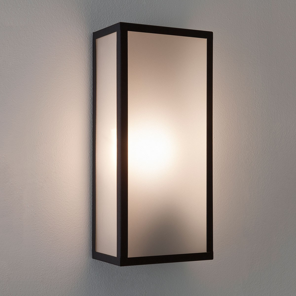 Luxury Exterior Wall Lights : Astro Messina Black with Frosted Glass Outdoor Wall Light at UK Electrical Supplies.
