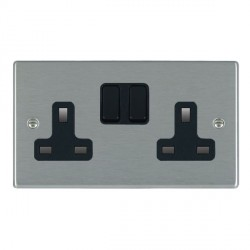 Hamilton Hartland Satin Steel 2 Gang 13A Switched Socket - Double Pole with Black Insert