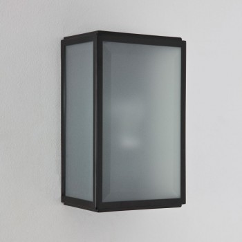Astro Homefield Black Outdoor Wall Light with Frosted Glass and Sensor