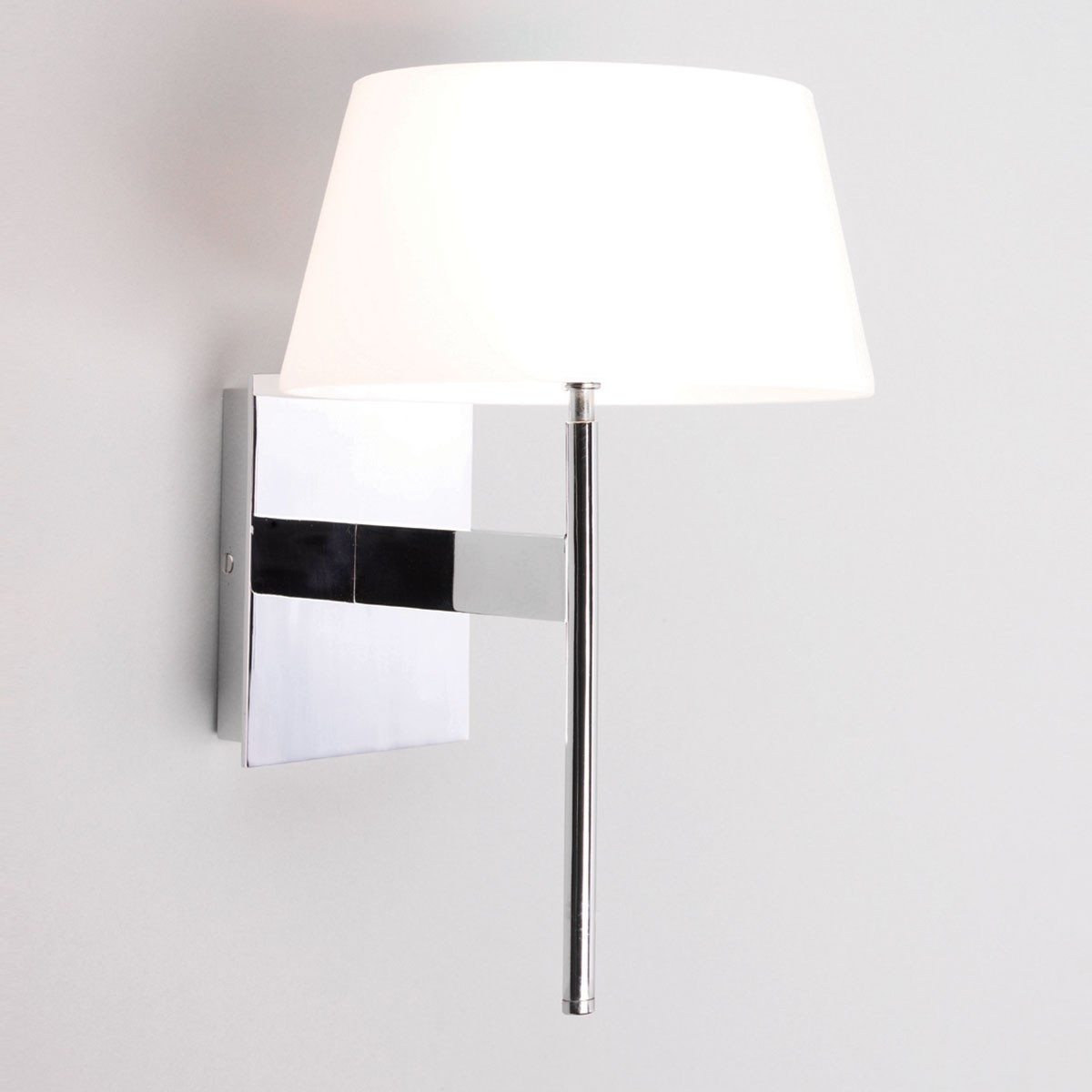 Astro Carolina Polished Chrome Wall Light with White Glass Shade at UK Electrical Supplies.