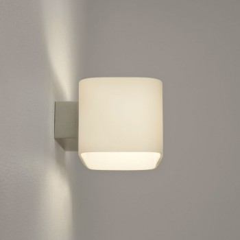 Astro Obround Painted Silver and White Glass Wall Light