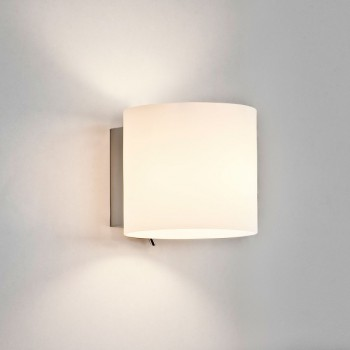 Astro Luga Square Polished Chrome and White Glass Wall Light