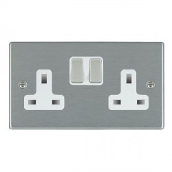 Hamilton Hartland Satin Steel 2 Gang 13A Switched Socket Double Pole with White Insert & Satin Steel Switches
