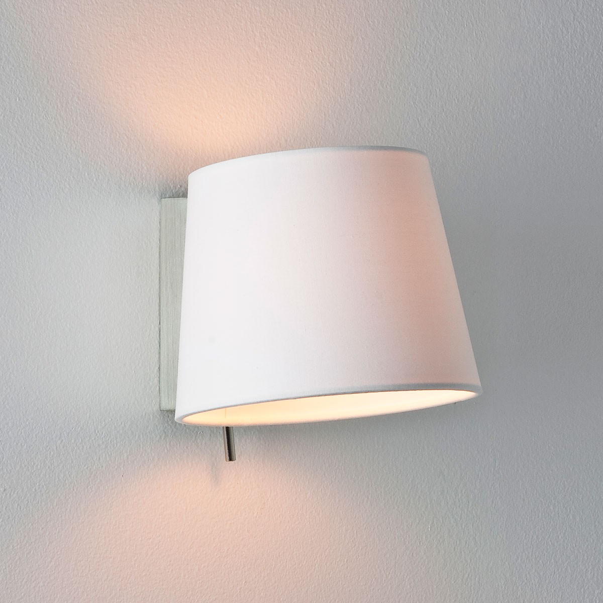 Astro Sala Brushed Nickel Wall Light with White Shade at UK Electrical Supplies.