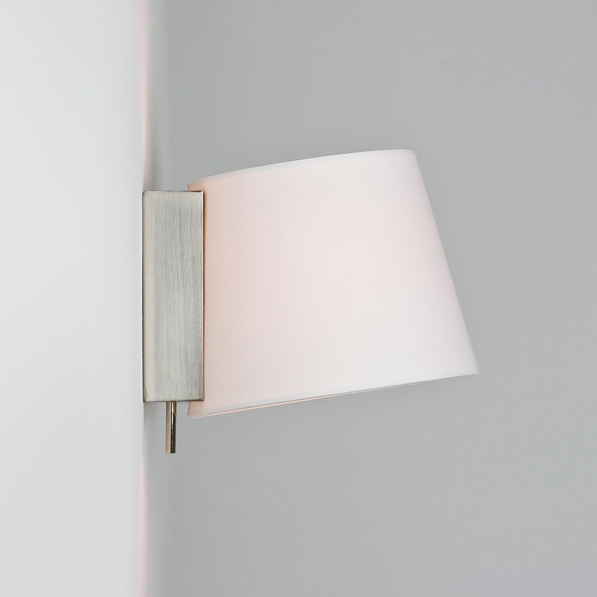 Wall Lights Nickel : Astro Sala Brushed Nickel Wall Light with White Shade at UK Electrical Supplies.