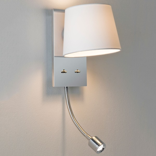 Astro Sala Polished Chrome Wall Light with White Shade and LED Reading Light