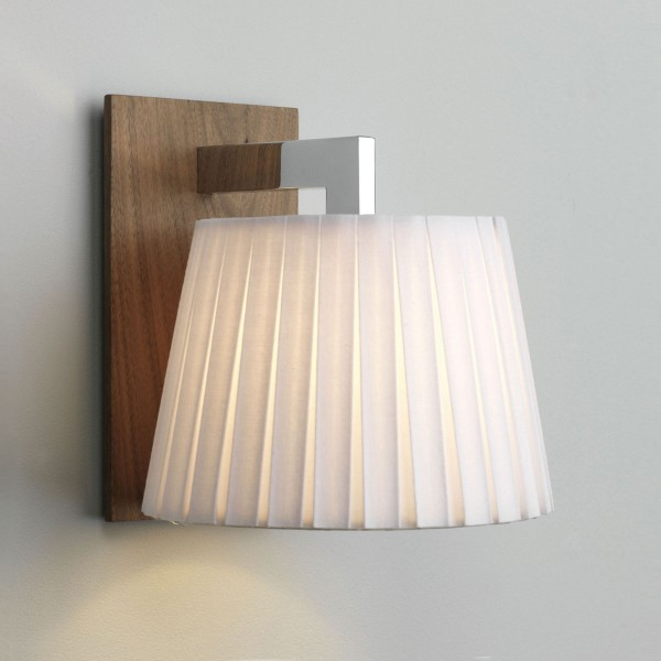 Astro Nola Polished Chrome and Walnut Wall Light with White Shade