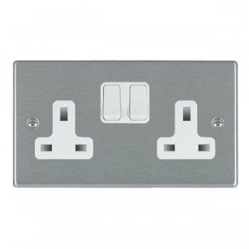 Hamilton Hartland Satin Steel 2 Gang 13A Switched Socket - Double Pole with White Insert & White Switches