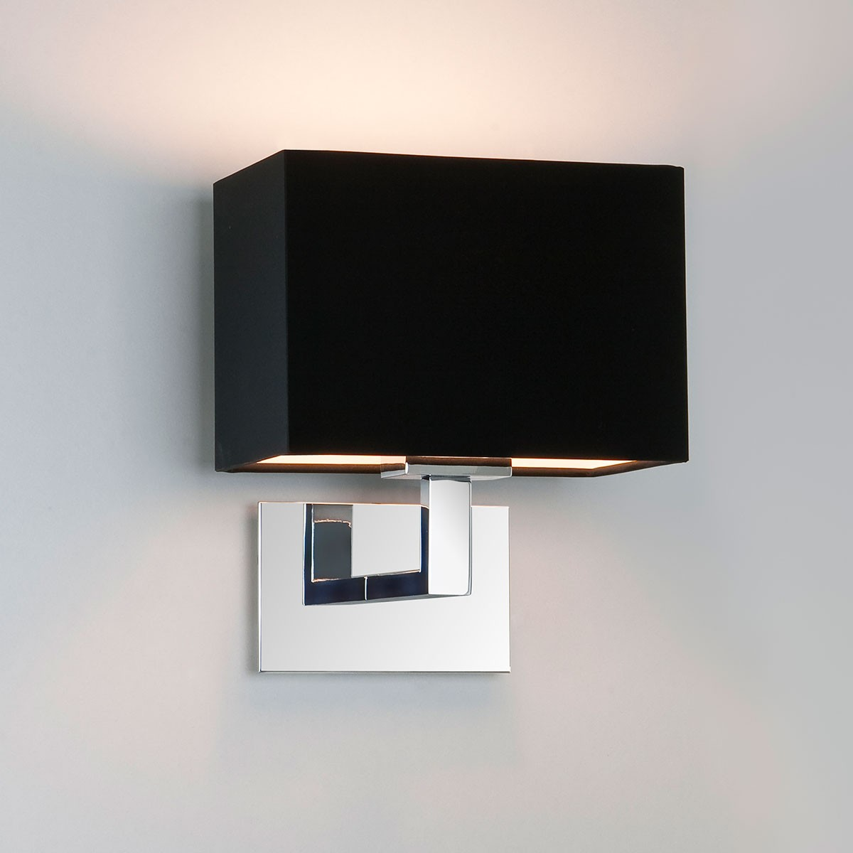 Astro Connaught Polished Chrome Wall Light with Black Shade at UK Electrical Supplies.