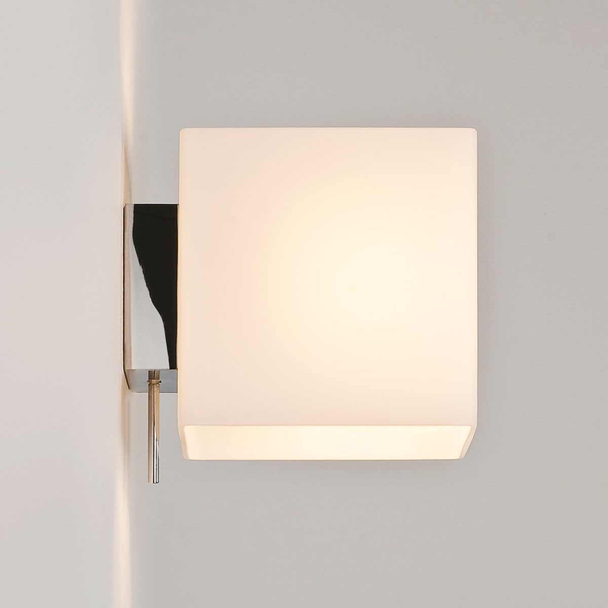 Astro Luga Switched Painted Silver and White Glass Wall Light at UK Electrical Supplies.