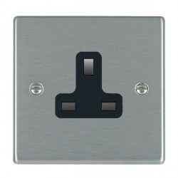 Hamilton Hartland Satin Steel 1 Gang 13A Unswitched Socket with Black Insert