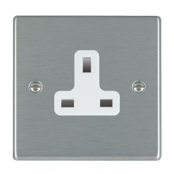 Hamilton Hartland Satin Steel 1 Gang 13A Unswitched Socket with White Insert