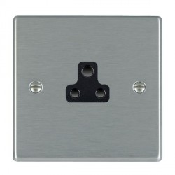Hamilton Hartland Satin Steel 1 Gang 2A Unswitched Socket with Black Insert