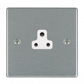 Hamilton Hartland Satin Steel 1 Gang 2A Unswitched Socket with White Insert
