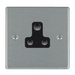Hamilton Hartland Satin Steel 1 Gang 5A Unswitched Socket with Black Insert