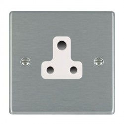 Hamilton Hartland Satin Steel 1 Gang 5A Unswitched Socket with White Insert