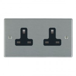 Hamilton Hartland Satin Steel 2 Gang 13A Unswitched Socket with Black Insert