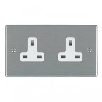 Hamilton Hartland Satin Steel 2 Gang 13A Unswitched Socket with White Insert