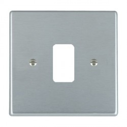 Hamilton Hartland Grid Satin Chrome 1 Gang Grid Fix Aperture Plate with Grid