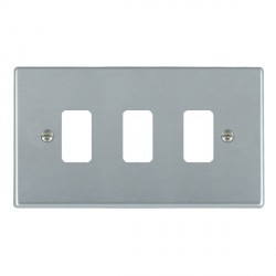 Hamilton Hartland Grid Satin Chrome 3 Gang Grid Fix Aperture Plate with Grid
