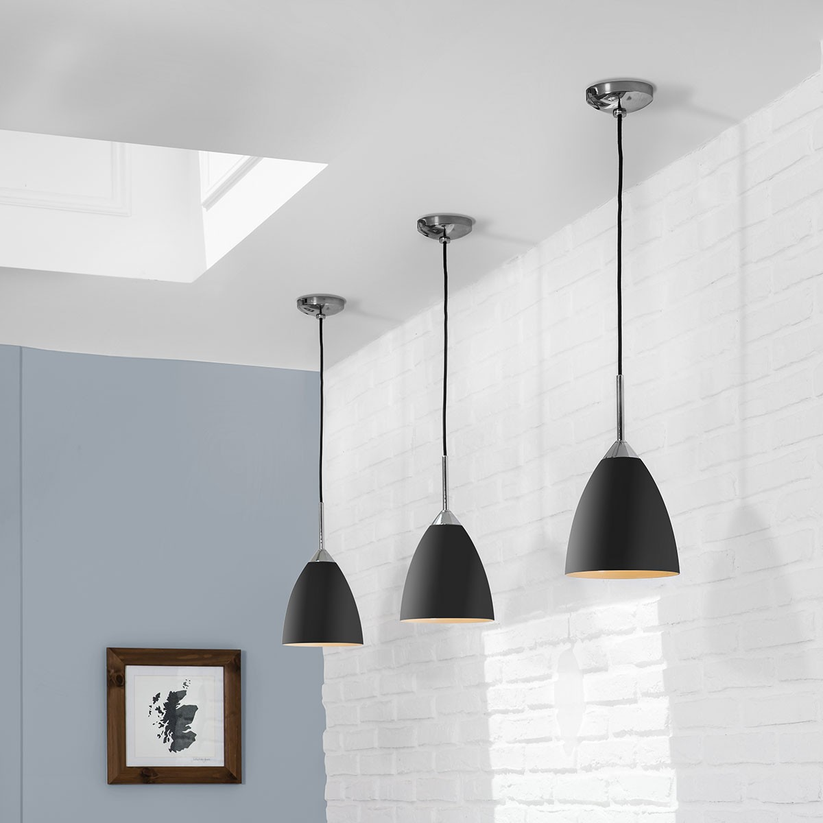 Astro joel black and polished chrome pendant light at uk for Astro lighting