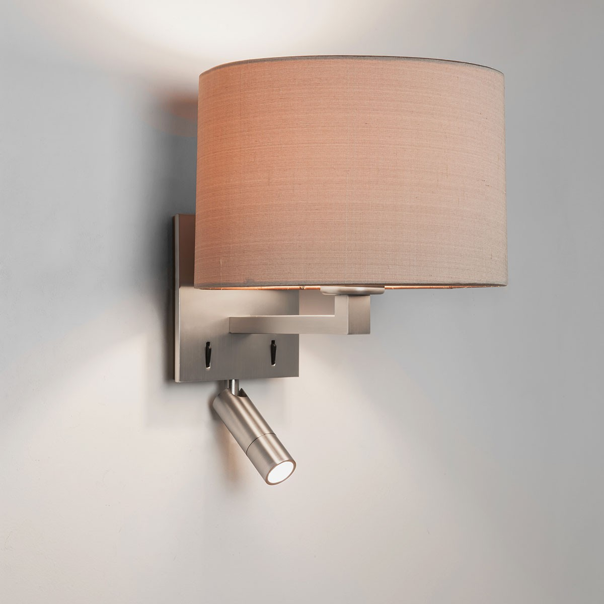 Astro Azumi Reader Matt Nickel Wall Light with LED Reading Light at UK Electrical Supplies.