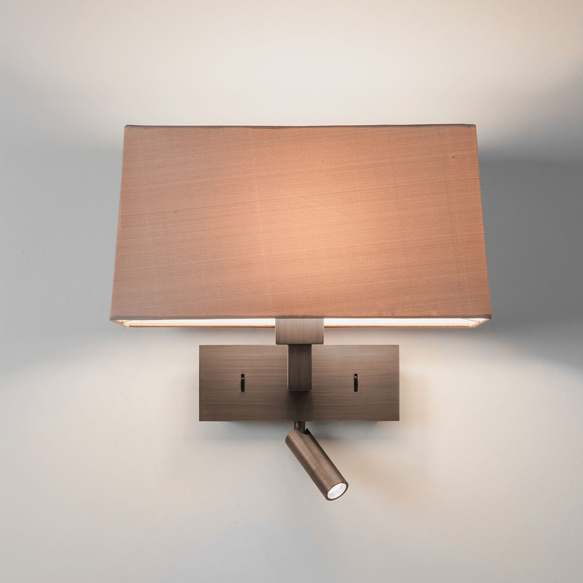 Twin Reading Wall Lights : Astro Park Lane Reader Bronze Wall Light with LED Reading Light at UK Electrical Supplies.