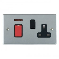 Hamilton Hartland Satin Chrome 1 Gang Double Pole 45A Red Rocker + 13A Switched Socket with Black Insert
