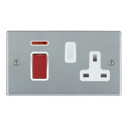 Hamilton Hartland Satin Chrome 1 Gang Double Pole 45A Red Rocker + 13A Switched Socket with White Insert