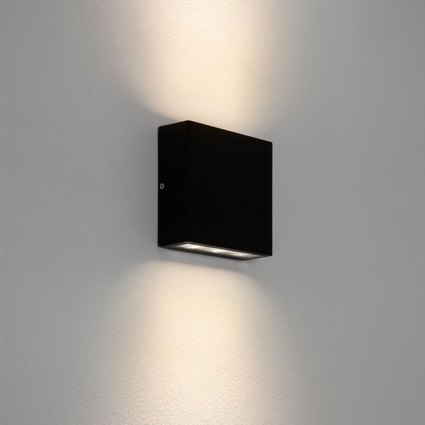 Twin External Wall Lights : Astro Elis Twin Black Outdoor LED Wall Light at UK Electrical Supplies.