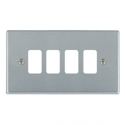 Hamilton Hartland Grid Satin Chrome 4 Gang Grid Fix Aperture Plate with Grid