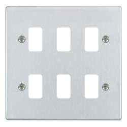 Hamilton Hartland Grid Satin Chrome 6 Gang Grid Fix Aperture Plate with Grid