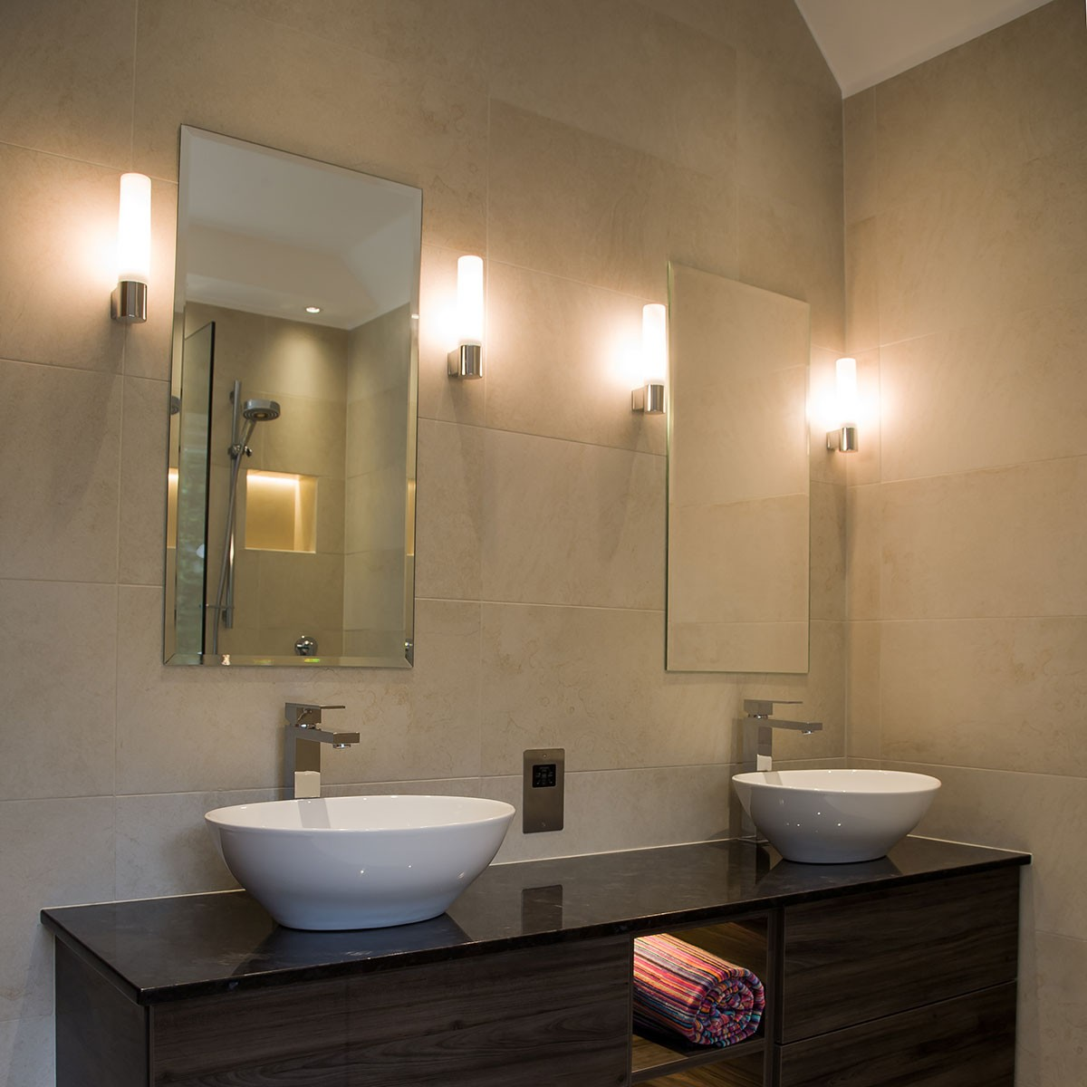 Astro bari polished chrome bathroom wall light at uk for Bathroom wall lights
