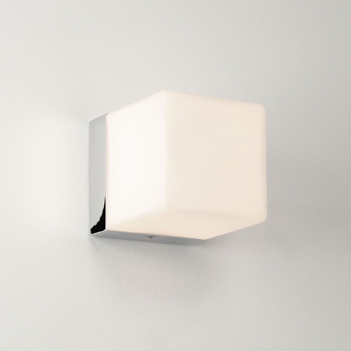 Astro Cube Polished Chrome and White Glass Bathroom Wall Light at UK Electrical Supplies.