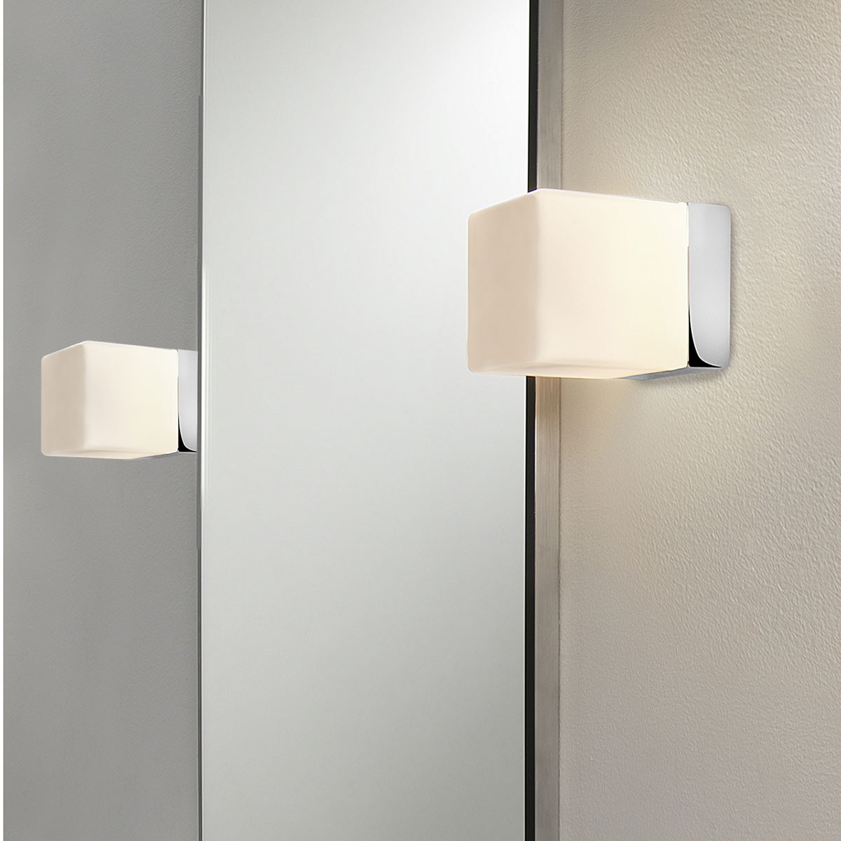 Glass Cube Wall Lights : Astro Cube Polished Chrome and White Glass Bathroom Wall Light at UK Electrical Supplies.