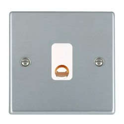 Hamilton Hartland Satin Chrome 20A Cable Outlet with White Insert