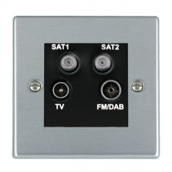 Hamilton Hartland Satin Chrome TV+FM+SAT+SAT (DAB Compatible) with Black Insert