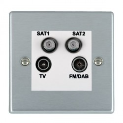 Hamilton Hartland Satin Chrome TV+FM+SAT+SAT (DAB Compatible) with White Insert