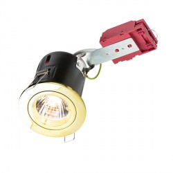 Knightsbridge IC Rated 50W Fixed GU10 Brass Downlight