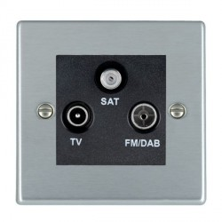 Hamilton Hartland Satin Chrome TV+FM+SAT (DAB Compatible) with Black Insert
