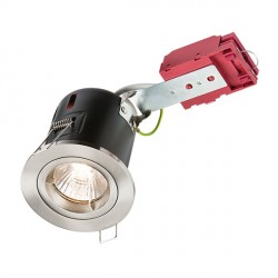 Knightsbridge IC Rated 50W Fixed GU10 Brushed Chrome Downlight