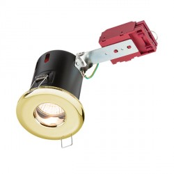Knightsbridge IC Rated IP65 35W Fixed GU10 Brass Downlight