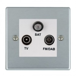 Hamilton Hartland Satin Chrome TV+FM+SAT (DAB Compatible) with White Insert