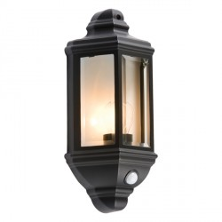 Knightsbridge 42W Halogen Black Wall Lantern with PIR Sensor