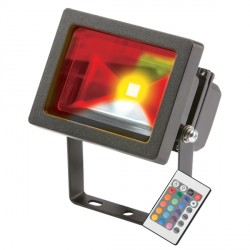 Knightsbridge 10W RGB Colourchange Adjustable LED Floodlight with Remote Control