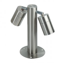 Knightsbridge 2x35W GU10 Stainless Steel Small Adjustable Bollard Light